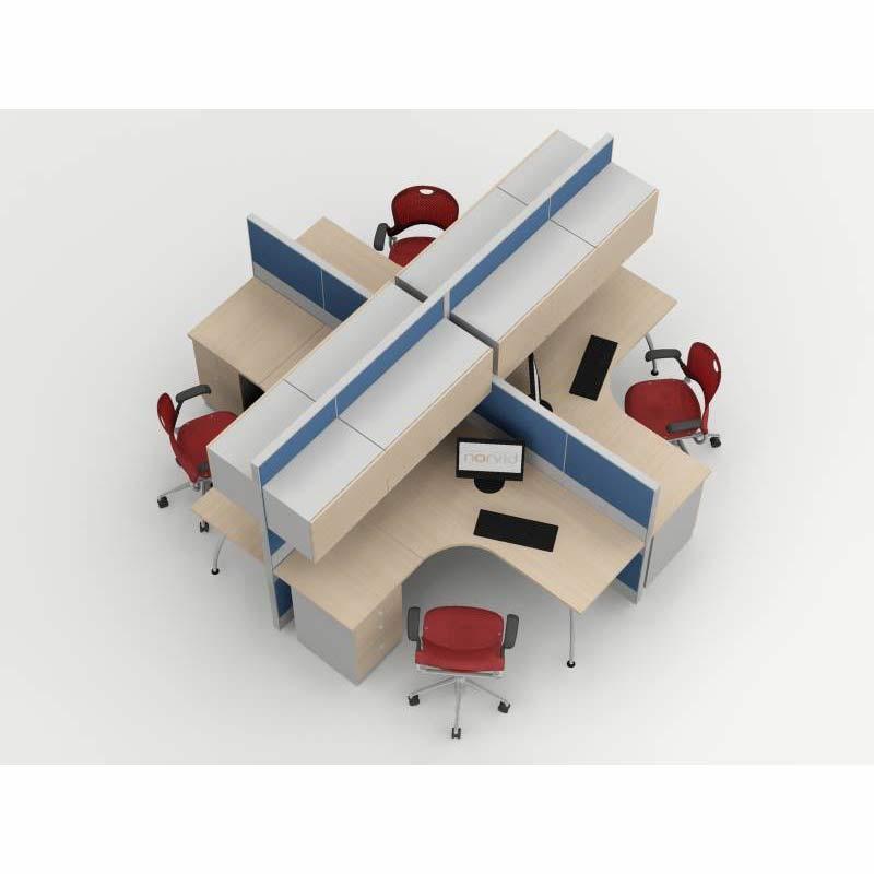 Estacion modular tipo cruceta vid grupo meta soluciones for Muebles para oficina mamparas