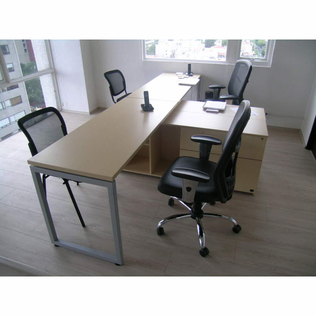 Estacion de trabajo doble en l grupo meta soluciones de for Muebles de oficina en l