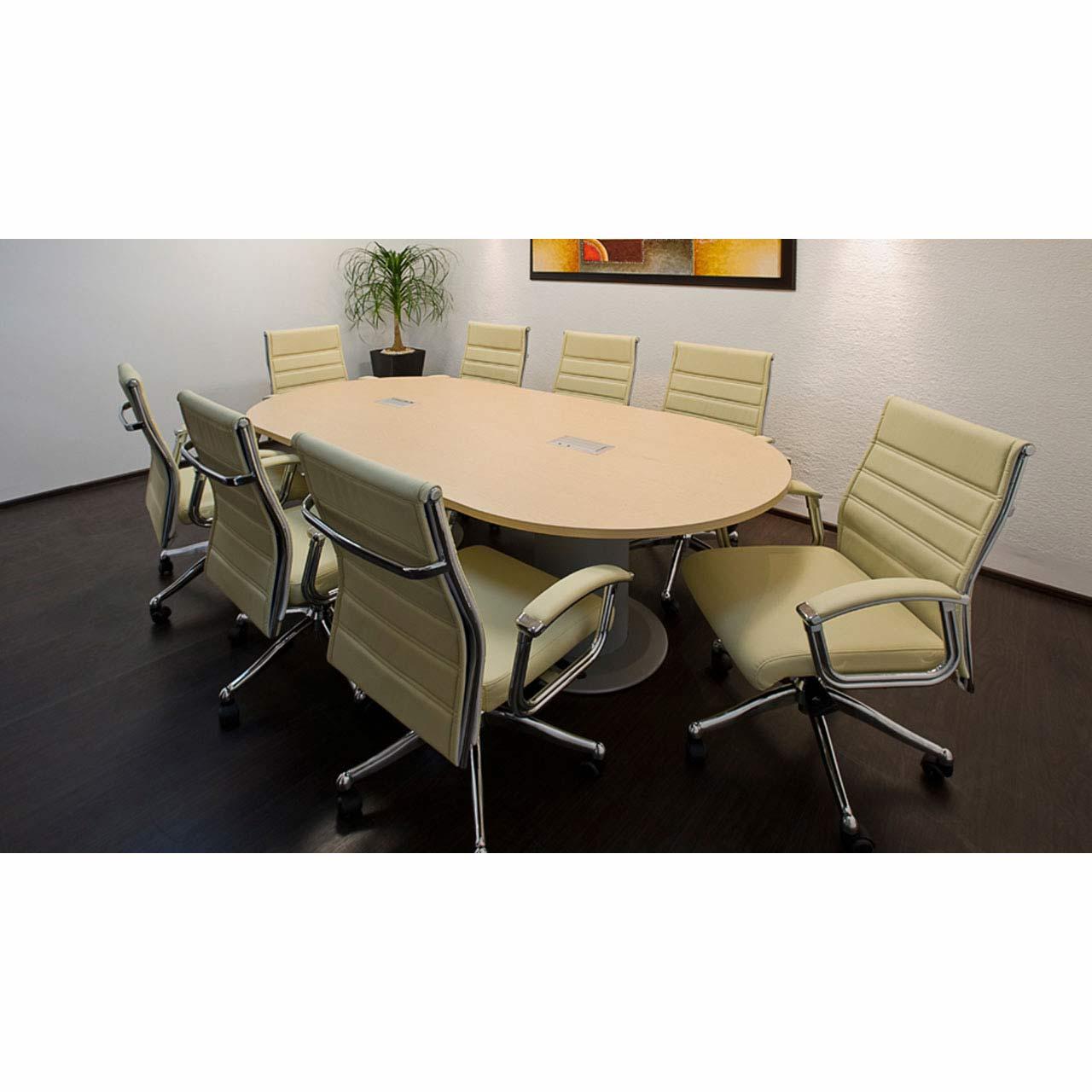 Mesa de juntas oval vid grupo meta soluciones de for Pedestales metalicos para mesas